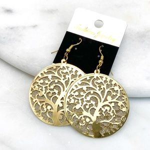 Peom Pageant Bridal Jewelry - Gold & Silver Tree is Life Layered Dangle Earrings